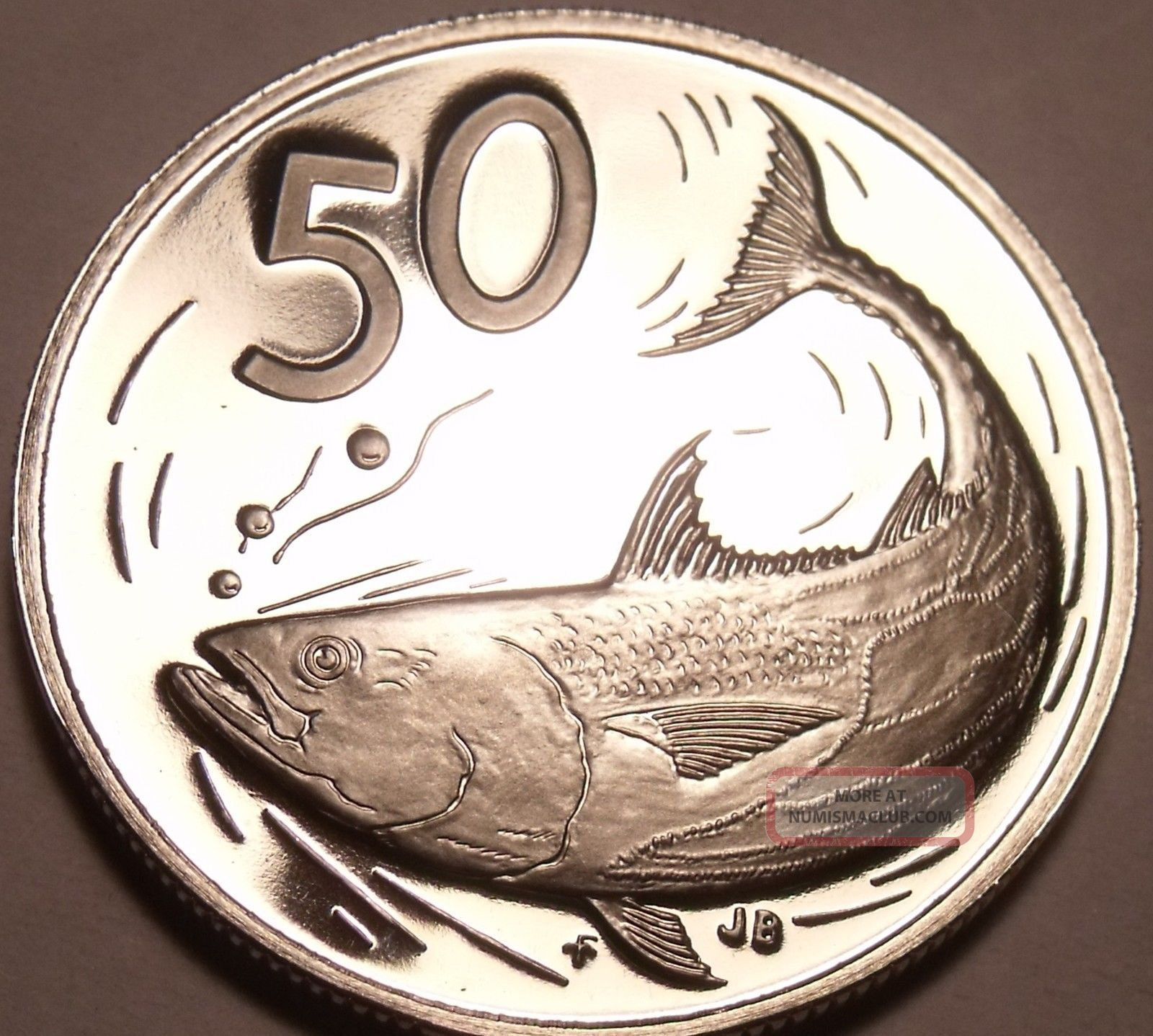 Large Cameo Proof Cook Islands 1972 50 Cents Bonito Fish 1st Year Ever Coins: World photo