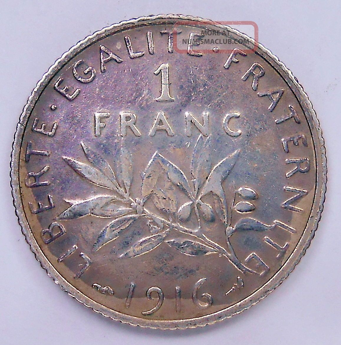 1916 France Franc Vf Classic Wwi Seed Sowing Old French Paris Silver Coin France photo
