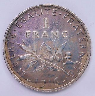 1916 France Franc Vf Classic Wwi Seed Sowing Old French Paris Silver Coin photo