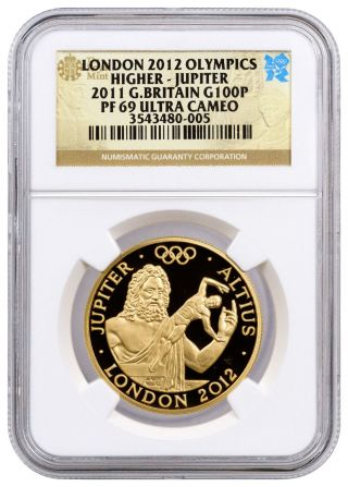 2011 Greatbritain 100pounds 1oz Proof Gold Olympics Jupiter Ngc Pf69 Uc Sku40934 photo