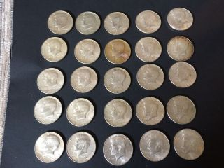 Twentyfive (25) 1966,  1967,  1968d,  1969d,  Kennedy 40 Silver Half Dollars photo