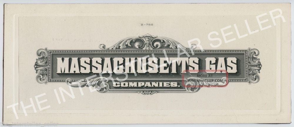 Antique Massachusetts Gas Companies - Die Proof Engraving For Stock Certificate? Stocks & Bonds, Scripophily photo