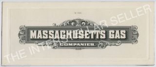 Antique Massachusetts Gas Companies - Die Proof Engraving For Stock Certificate? photo