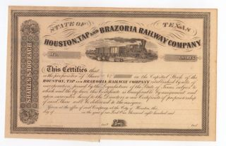 State Of Texas Houston,  Tap And Brazoria Railway Company Stock Certificate photo