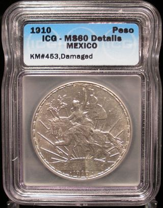 1910 Mexico Silver Peso Icg Ms 60 Details photo