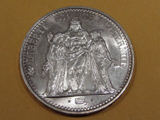 France 1967 Bu 10 Francs Silver Dollar Size Coin photo