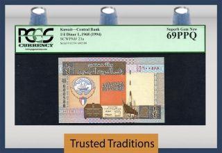 Tt Pk 23a 1968 Kuwait Central Bank 1/4 Dinar Pcgs 69 Ppq Gem Perfect photo