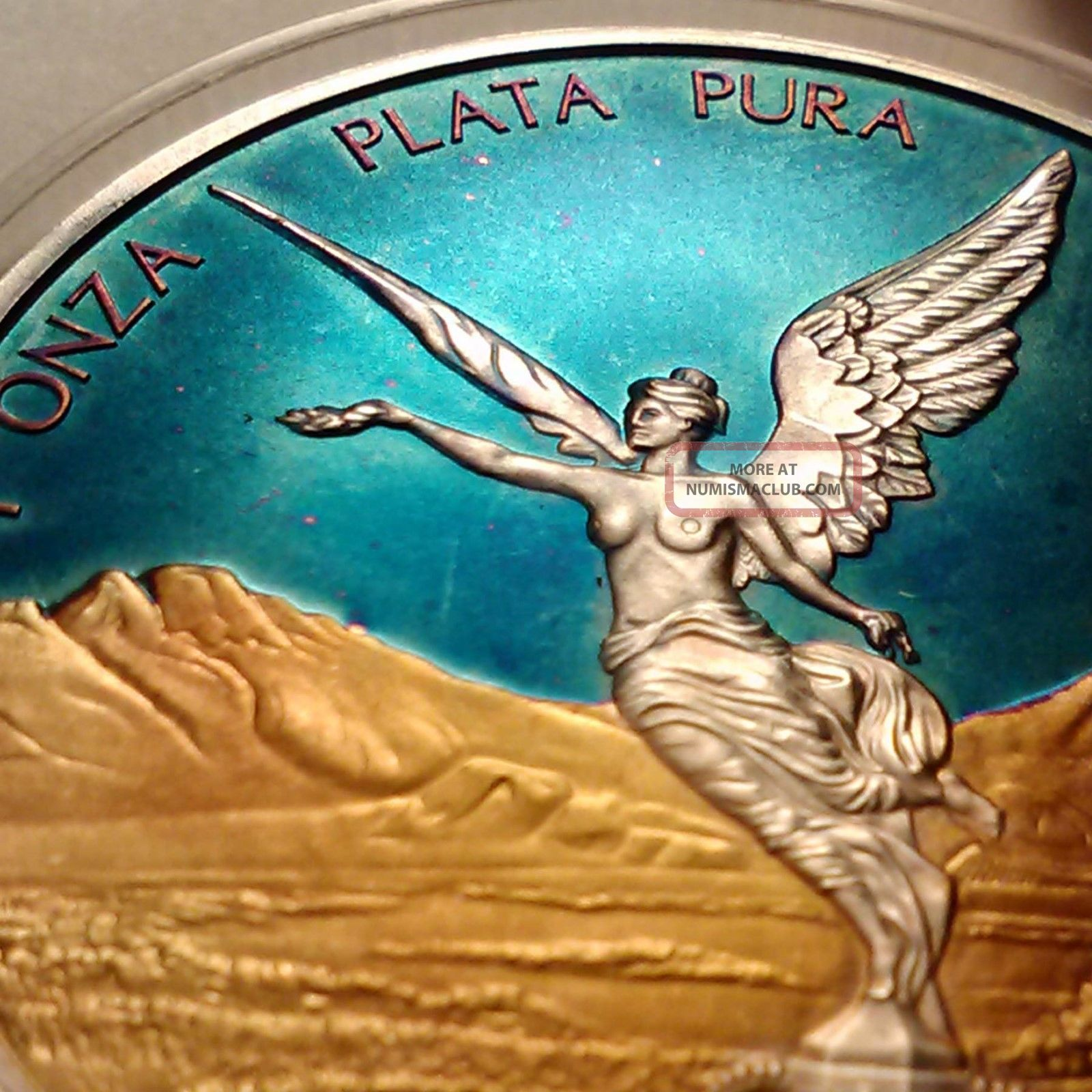 Colorized 2016 Mexican Libertad Gold Toned Blue Sky Coin