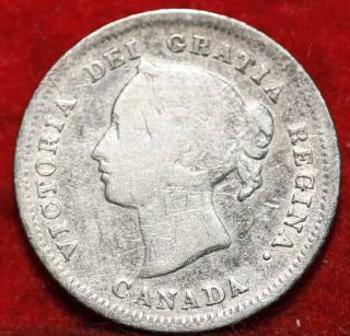 1880 Canada 5 Cents Silver Foreign Coin S/h photo