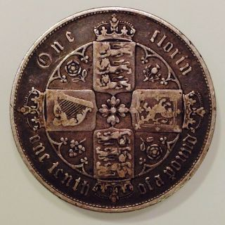 1858,  Great Britain /uk,  One Gothic Florin /2 Shillings Silver Coin,  Queen Victoria photo