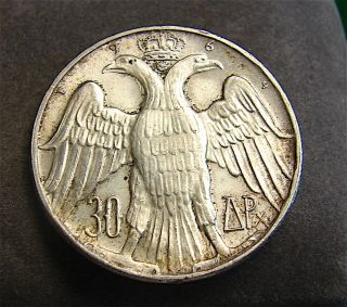 1964 Greece 30 Drachmai Silver Coin - Constantine Ii Royal Marriage==free Ship photo