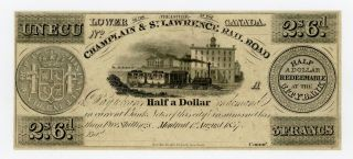 1837 Un Ecu / 2s.  6d.  / 50c Champlain & St.  Lawrence Rail Road - Canada Note Au photo