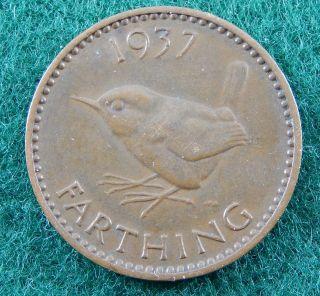 1937 Uk Great Britain Farthing Coin Km 843 Sb3146 photo