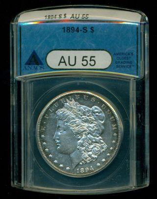 1894 - S Morgan Dollar Anacs Au 55 photo