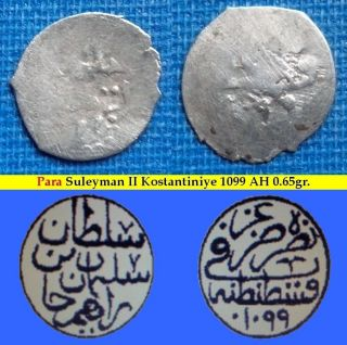 Extremly Rare Suleyman Ii Silver Para 1099 Ah Osmanisches Reich Ottoman Empire photo