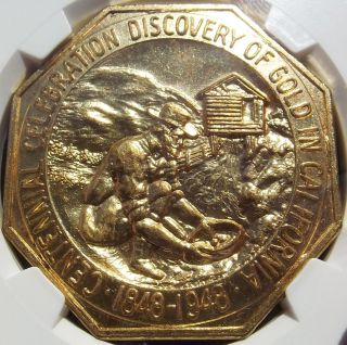 1948 California Gold Discovery Medal - Ngc Ms65 - Hk497 Octagonal Token/slug,  Bu photo