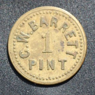 Leitrim,  On: G.  W.  Barrett 1 Pint Dairy Token,  Pritchard & Andrews Leroux 1067m photo