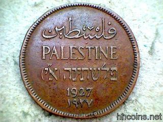 Palestine 1927 One Mil Bronze Coin,  F photo