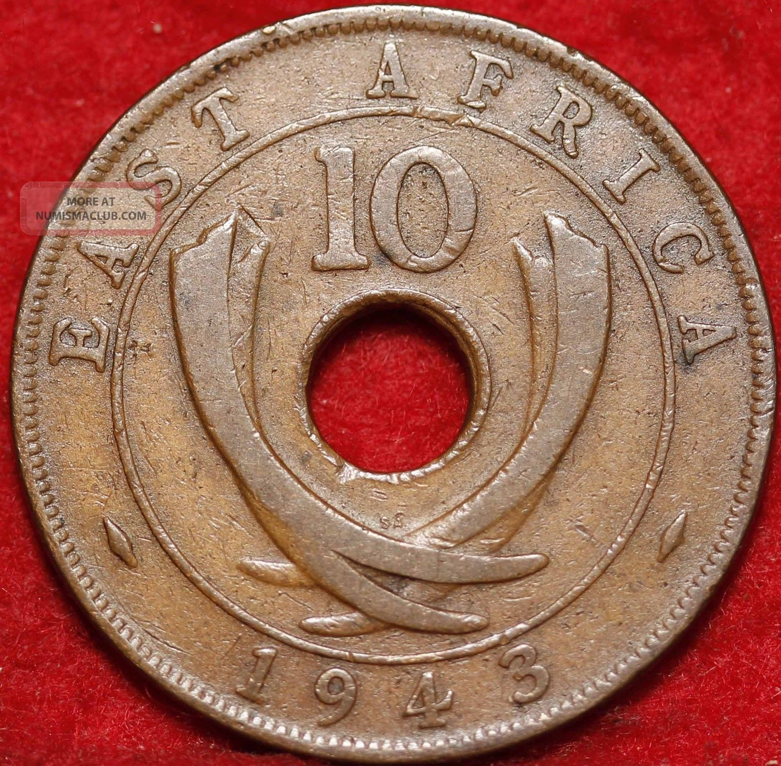 1943 East Africa 10 Cents Foreign Coin S H