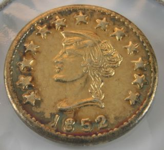 1852 California Gold Token - Round Liberty Fractional photo