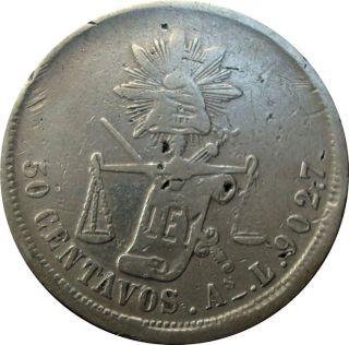 1875 México Álamos Sonora 50 Centavos As.  L.  - Rare Silver Coin - First Year ¡¡ photo