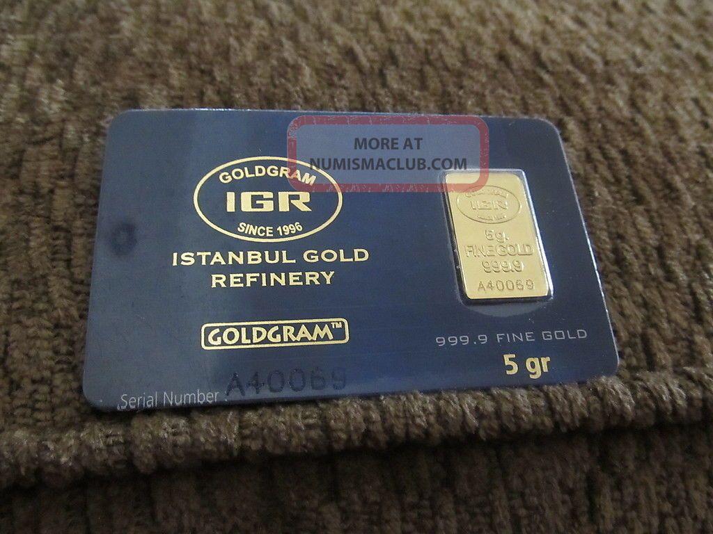 5 Gram 999.  9 24k Gold Bullion Bar Includes Certificate On Back Of Card Gold photo