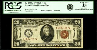 Fr.  2304 $20 1934 Mule Hawaii Federal Reserve Note.  Pcgs Very Fine 35 Apparent photo