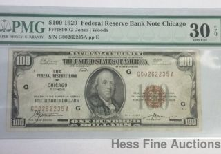 $100 1929 Federal Bank Chicago National Currency Note Brown Seal Pmg Vf Epq photo