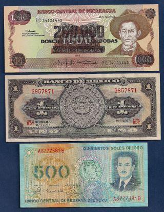 Nicaragua,  Mexico 1 Peso 1967 P - 59j,  Peru 500 Soles De Oro 1982 P - 125a photo