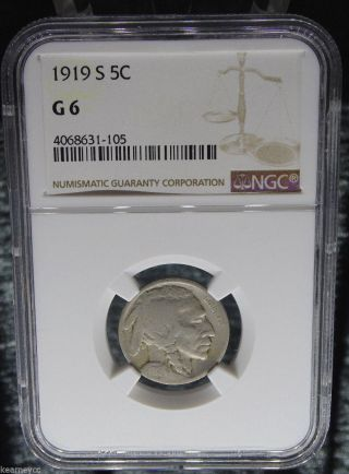 1919 S Buffalo Nickel Ngc Certified G 6 Good (105) photo