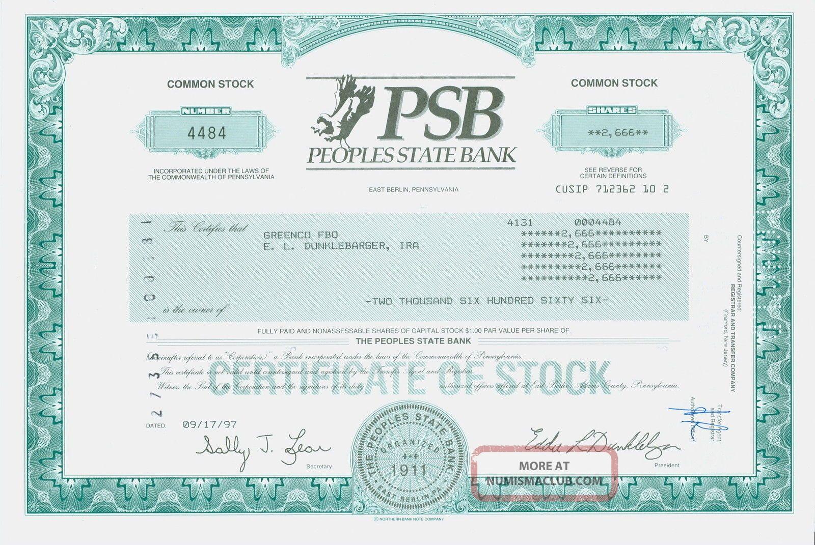 Stock Certificate - - Peoples State Bank – Psb,  East Berlin,  Pennsylvania Stocks & Bonds, Scripophily photo