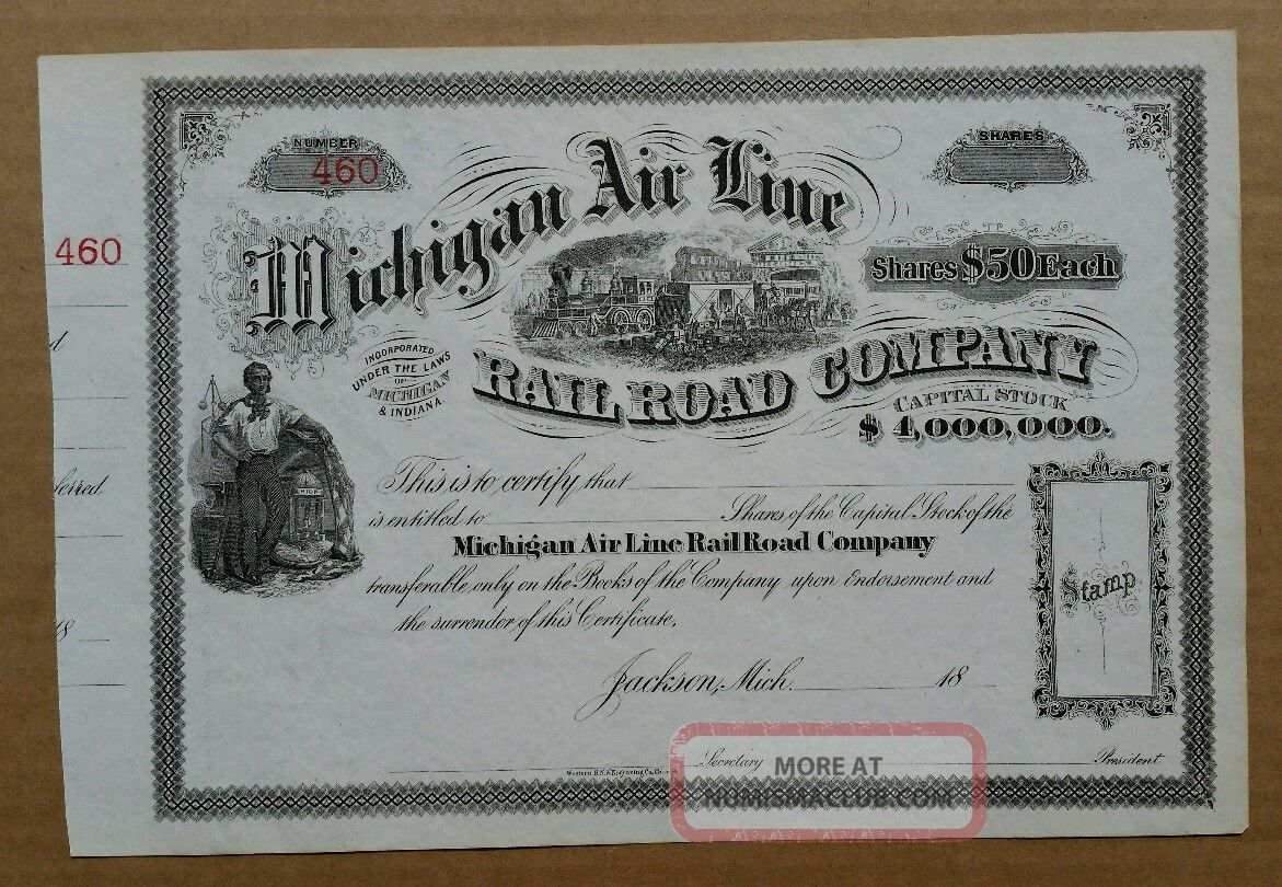 Michigan Air Line Railroad Co.  Stock Cert. ,  1860 ' S - 1870 ' S Transportation photo