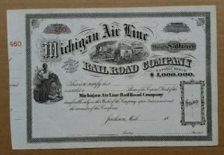 Michigan Air Line Railroad Co.  Stock Cert. ,  1860 ' S - 1870 ' S photo