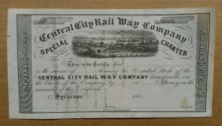 Central City Railway Co. ,  Syracuse,  N.  Y. ,  Stock Certificate,  1860 ' S photo