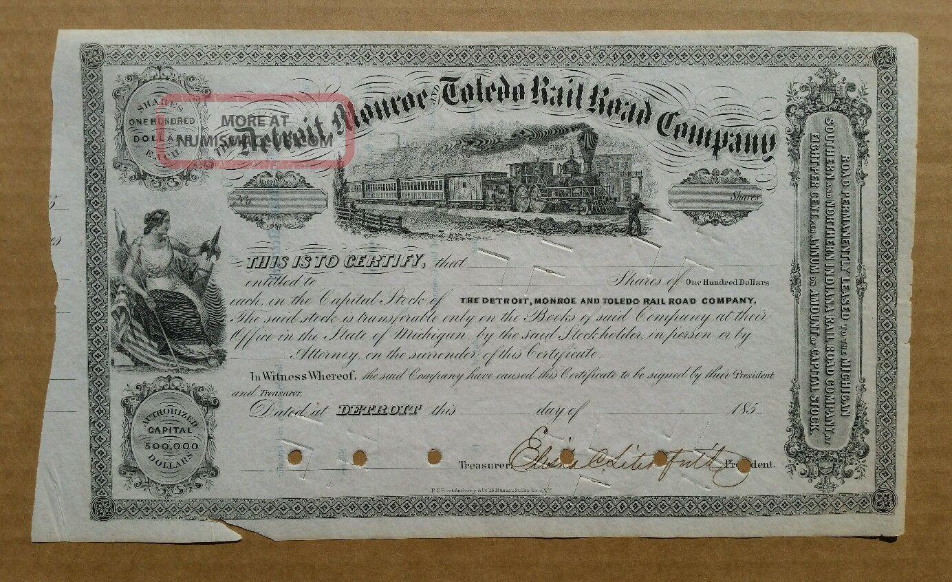 Detroit,  Monroe & Toledo Railroad Co.  Stock Cert. ,  1850 ' S Transportation photo