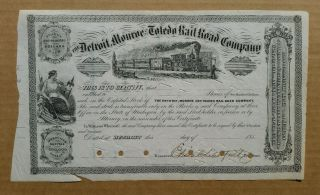 Detroit,  Monroe & Toledo Railroad Co.  Stock Cert. ,  1850 ' S photo