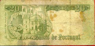 Portugal 20 Escudos 1964 P - 167 Vg Serie Edc Circulated Banknote photo