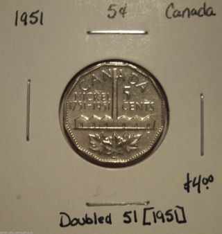 Canada George Vi 1951 Doubled 51 Five Cents photo