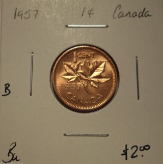 B Canada Elizabeth Ii 1957 Small Cent - Bu photo