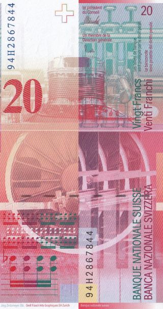 Switzerland 20 Franken 1994 - 95 (pick 68) Unc photo