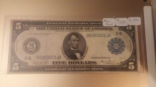 1914 $5.  00 Federal Reserve Note Fr.  849 York Burke/glass Vf/xf photo