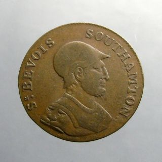 1790 ' S Copper Halfpenny_conder Token_helmeted Sir Bevois_southampton photo