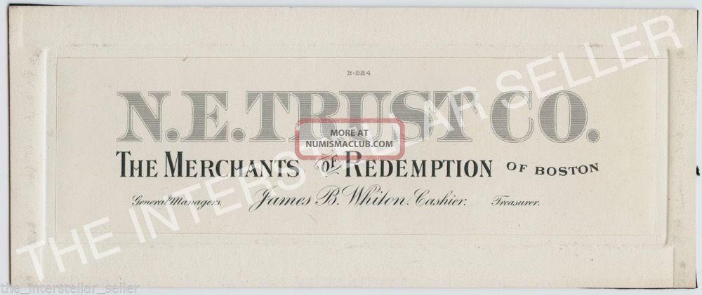 "Antique N.  E.  Trust Co.  ""merchants Of Redemption"" Boston - Die Proof Engraving Stocks & Bonds, Scripophily photo"