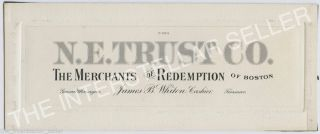 "Antique N.  E.  Trust Co.  ""merchants Of Redemption"" Boston - Die Proof Engraving photo"