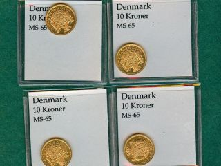 Four (4) 1908 Denmark Ten 10 Kroner Gold Coin - - - Dmg 426 photo