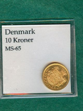 1908 Denmark Ten 10 Kroner Gold Coin - - - Dmg 426 A photo