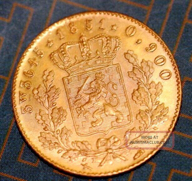 Netherlands 1851 Willem Iii 5 Gulden Gold Coin