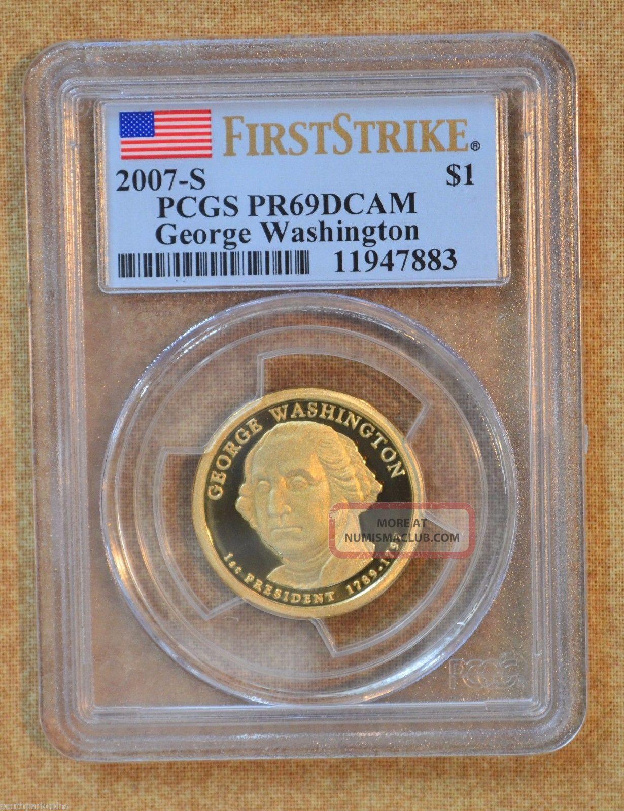 2007 - S First Strike G.  W.  Presidential Dollar - Pcgs Slabbed Pr69dcam Dollars photo
