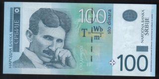 Nikola Tesla - Serbia 2013 - Paper Money - 100 Dinara - Banknote - Unc photo