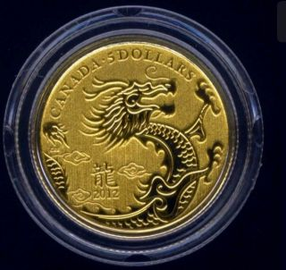 Canada 2012 Year Of The Dragon $5.  9999 1/10 Oz.  Fine Gold photo